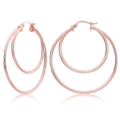Rose Gold Tone over Sterling Silver Diamond-cut 38mm Round Double Hoop Earrings