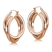 Rose Gold Flash Sterling Silver Square-Tube 30mm Crossover Double Round Hoop Earrings