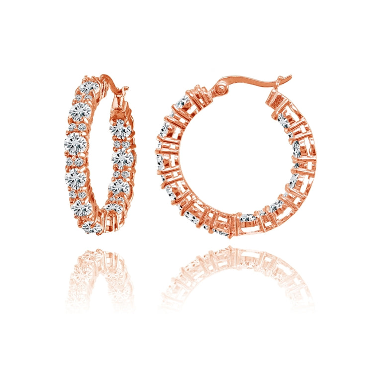 Rose Gold Flashed Silver Cubic Zirconia Inside Out 28mm Round Hoop Earrings