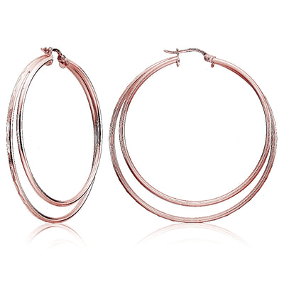 Rose Gold Flashed Sterling Silver Double Circle Square-Tube Diamond Cut 45mm Round Hoop Earrings