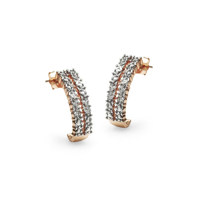 Rose Gold Flashed Sterling Silver Pave Diamond Accent Half Hoop Huggie Earrings, JK-I3