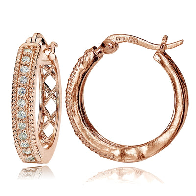 Rose Gold Flashed Sterling Silver Cubic Zironia 20mm Open Grid Hoop Earrings