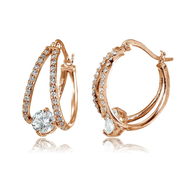 Rose Gold Flashed Sterling Silver Cubic Zirconia Oval Double Hoop Earrings