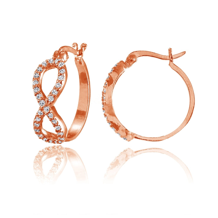 Rose Gold Flashed Sterling Silver Cubic Zirconia Infinity Figure 8 Hoop Earrings