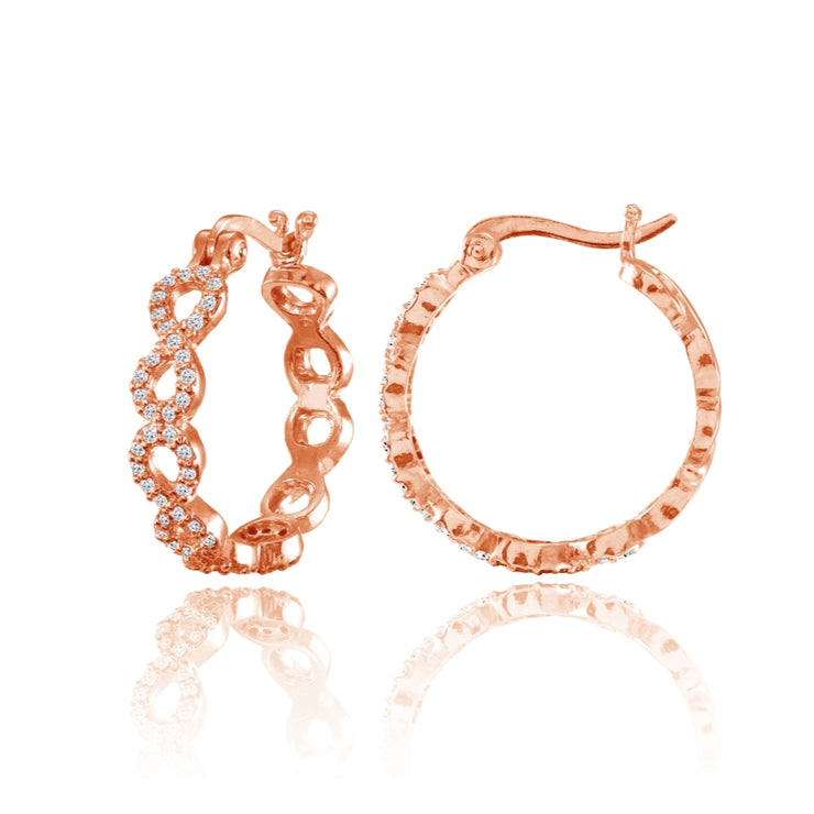 Rose Gold Flashed Sterling Silver Cubic Zirconia Continuous Infinity Hoop Earrings