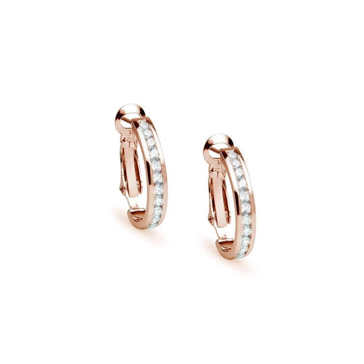 Rose Gold Flashed Sterling Silver Cubic Zirconia 20mm Clutchless Channel Set Oval Half Hoop Earrings