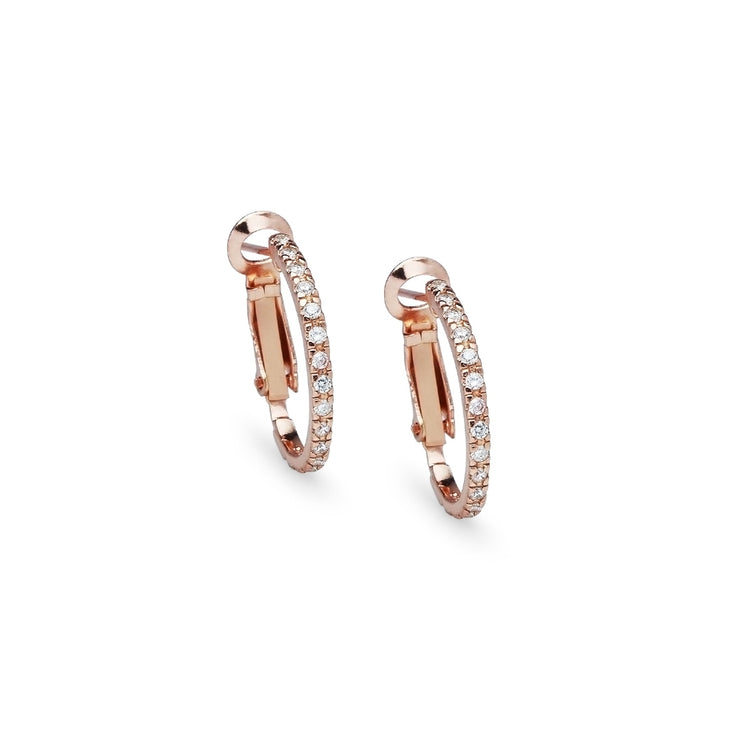 Rose Gold Flashed Sterling Silver Cubic Zirconia Inside Out 2x20mm Clutchless Half-Oval Hoop Earrings