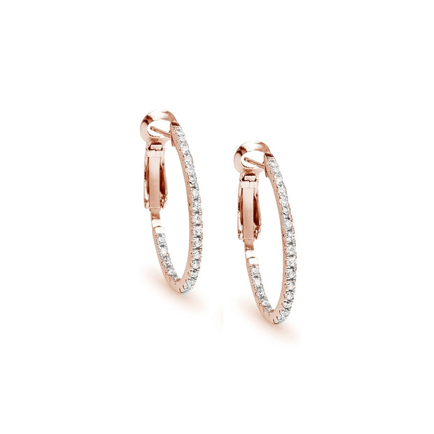 Rose Gold Flashed Sterling Silver Cubic Zirconia 28mm Clutchless Oval Hoop Earrings