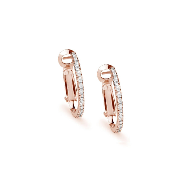 Rose Gold Flashed Sterling Silver Cubic Zirconia 21mm Clutchless Oval Hoop Earrings