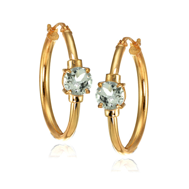 Rose Gold Flashed Sterling Silver Aquamarine Solitaire 25mm Hoop Earrings