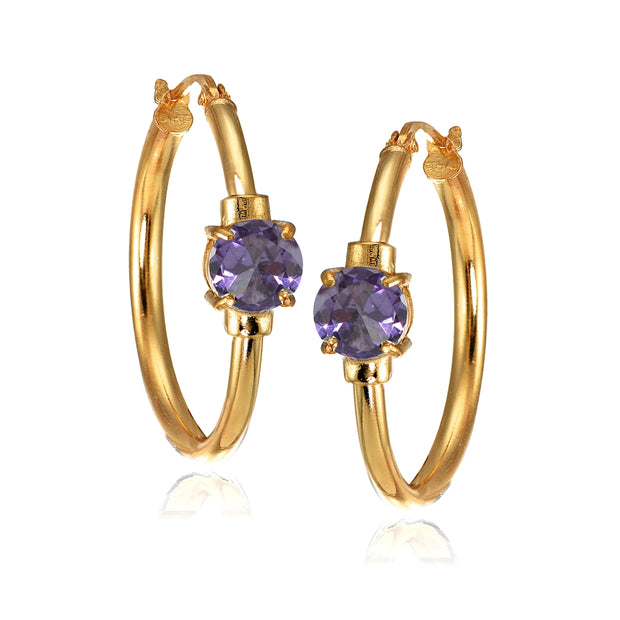 Rose Gold Flashed Sterling Silver Created Alexandrite Solitaire 25mm Hoop Earrings
