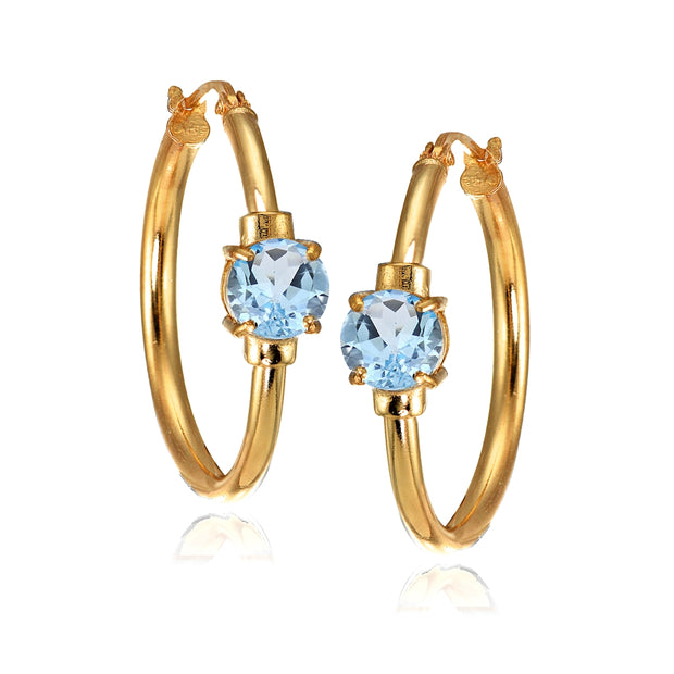 Rose Gold Flashed Sterling Silver Blue Topaz Solitaire 25mm Hoop Earrings