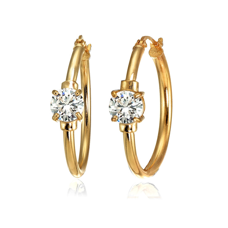 Rose Gold Flashed Sterling Silver Cubic Zirconia Solitaire 25mm Hoop Earrings
