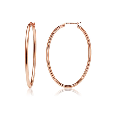 Rose Gold Flashed Sterling Silver 2x40mm High Polished Oval Hoop Earrings