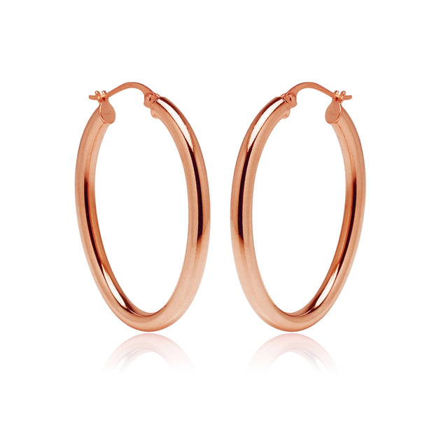 Rose Gold Flashed Sterling Silver 3x40mm High Polished Oval Hoop Earrings