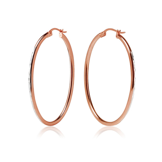 Rose Gold Flashed Sterling Silver Two Tone 2x40mm Diamond-Cut Oval Hoop Earrings