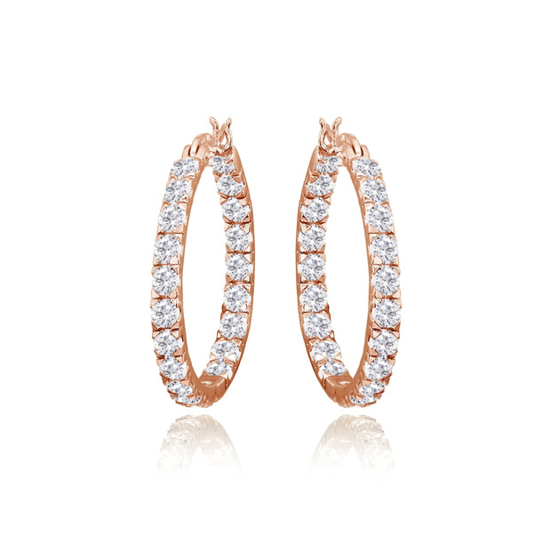 Rose Gold Flashed Sterling Silver 3mm Cubic Zirconia Inside Out Round Hoop Earrings