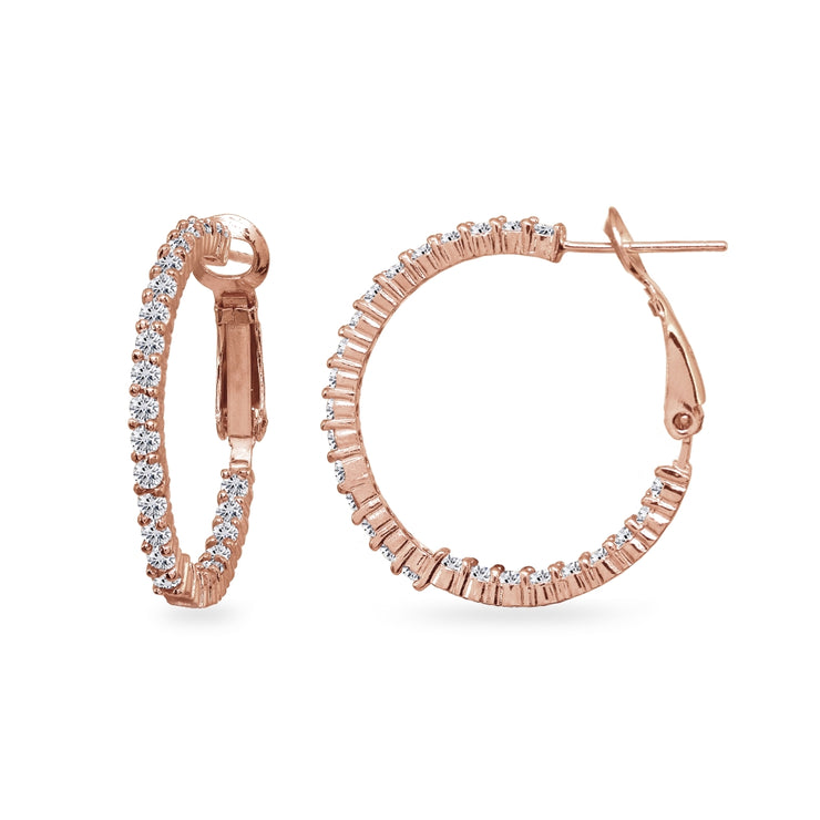 Rose Gold Flashed Sterling Silver Cubic Zirconia Round Dainty Inside-Out Clutchless Hoop Earrings