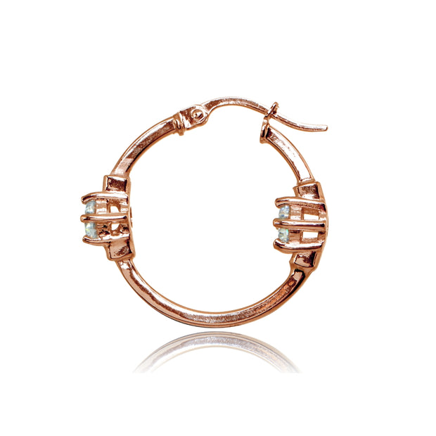 Rose Gold Flashed Sterling Silver Polished Cubic Zirconia Round Two Stone Hoop Earrings