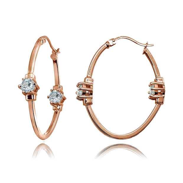 Rose Gold Flashed Sterling Silver Polished Cubic Zirconia Round Two Stone Oval Hoop Earrings