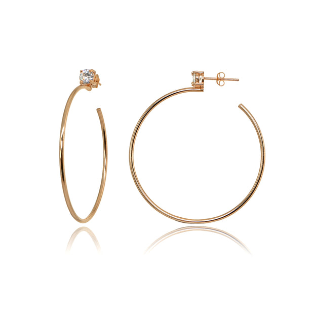 Rose Gold Flashed Sterling Silver Polished Cubic Zirconia Round 35mm Open Hoop Earrings