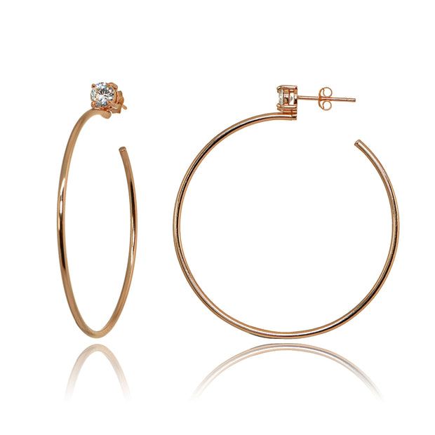 Rose Gold Flashed Sterling Silver Polished Cubic Zirconia Round 45mm Open Hoop Earrings