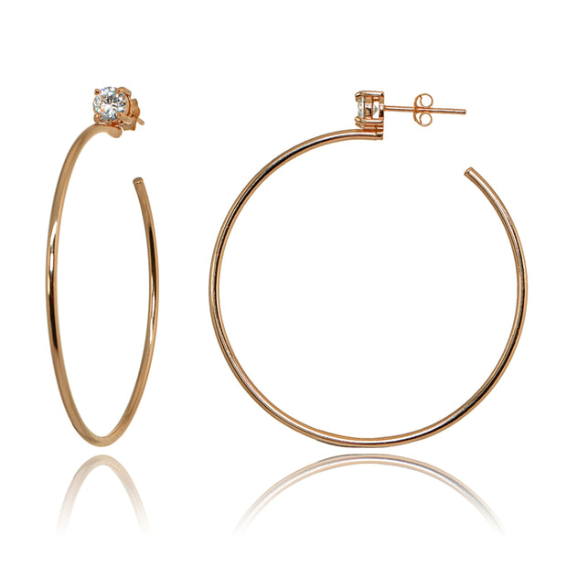 Rose Gold Flashed Sterling Silver Polished Cubic Zirconia Round 50mm Open Hoop Earrings