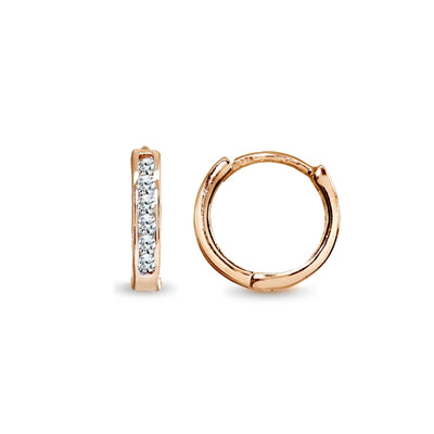 Rose Gold Flash Sterling Silver Tiny Small 13mm Channel-set Cubic Zirconia Round Huggie Hoop Earrings