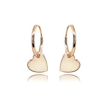 Rose Gold Flashed Sterling Silver Polished Heart Dainty Endless Small Hoop Earrings