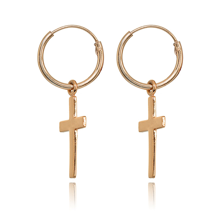 Rose Gold Flashed Sterling Silver Polished Cross Religious Dainty Endless Small Hoop Earrings