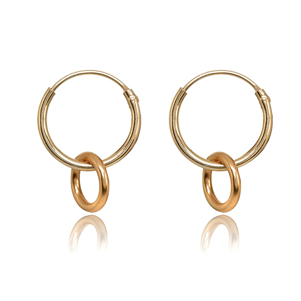 Rose Gold Flashed Sterling Silver Polished Interlocking Double Circle Dainty Endless Hoop Earrings