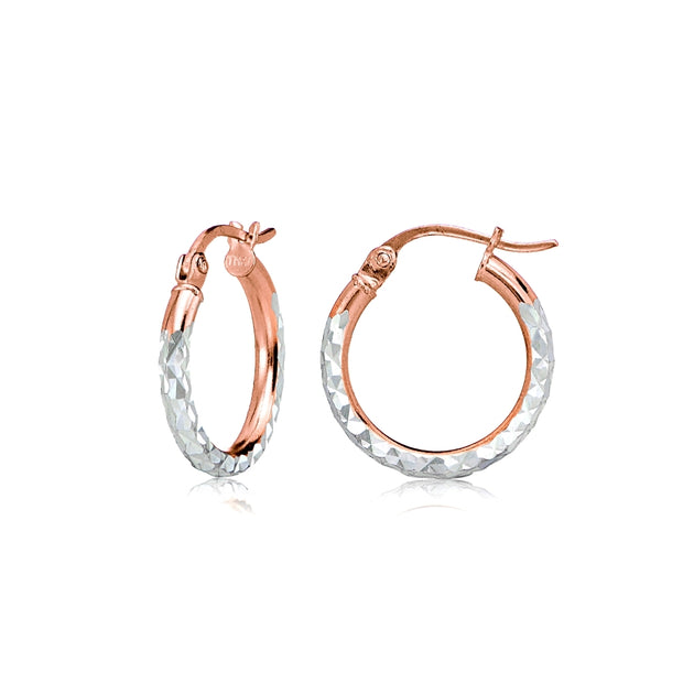 Rose Gold over Sterling Silver Two-Tone 2mm Diamond Cut Round Hoop Earrings, 15mm