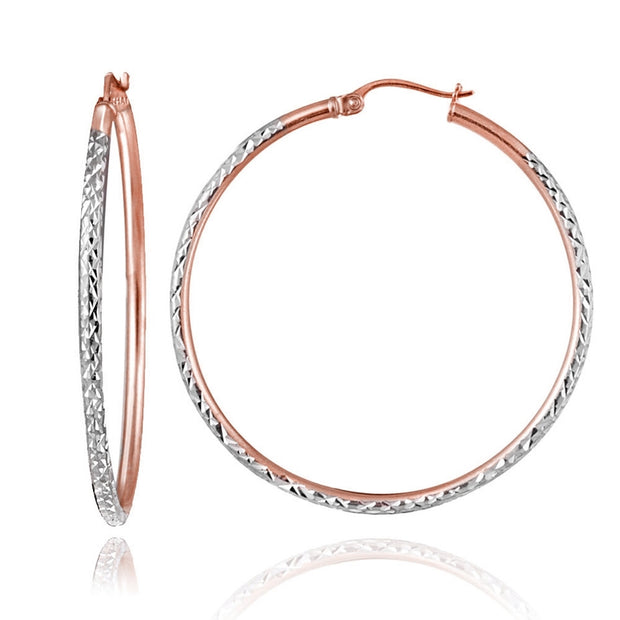 Rose Gold over Sterling Silver Two-Tone 2mm Diamond Cut Round Hoop Earrings, 45mm