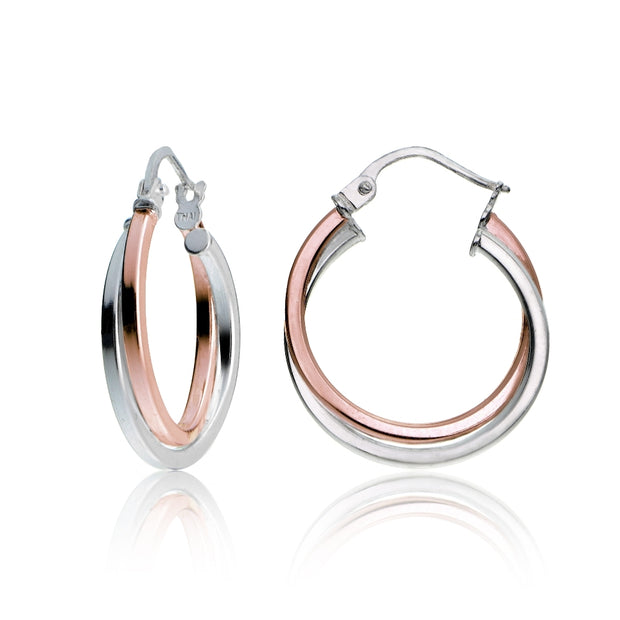Rose Gold Tone over Sterling Silver Two-Tone Intertwining Square-Tube Polished Hoop Earrings, 20mm