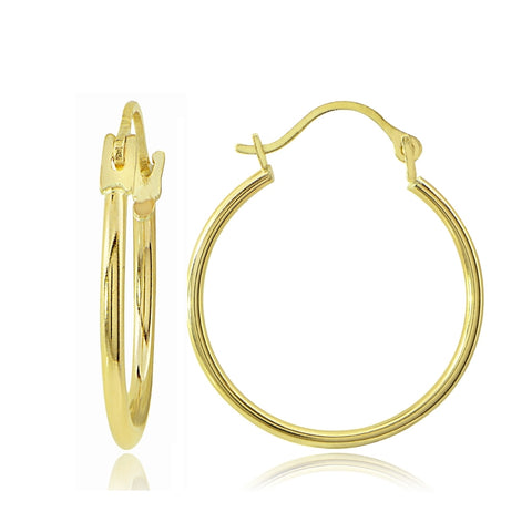 "14K Gold 1.3x20mm Round Tube Hoop Earrings, 3/4"" Diameter"