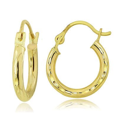 14K Gold 12mm Round Diamond-Cut Hoop Earrings
