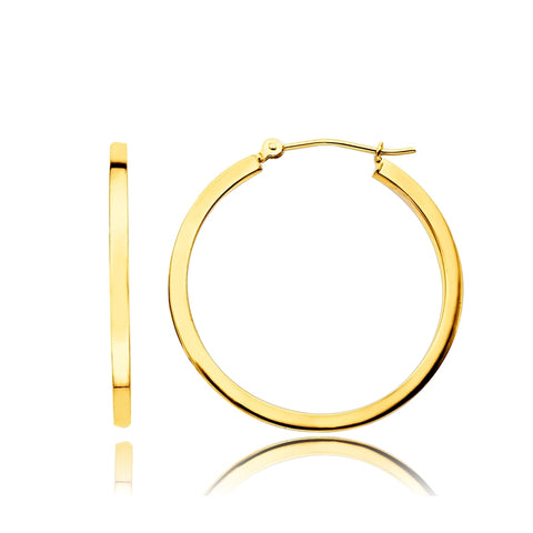14K Gold 1.5mm Square Tube Hoop Earrings, 12mm