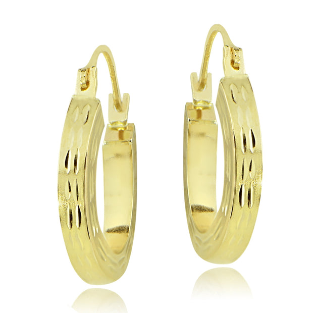 14K Gold 18mm Square Tube Diamond-Cut Hoop Earrings