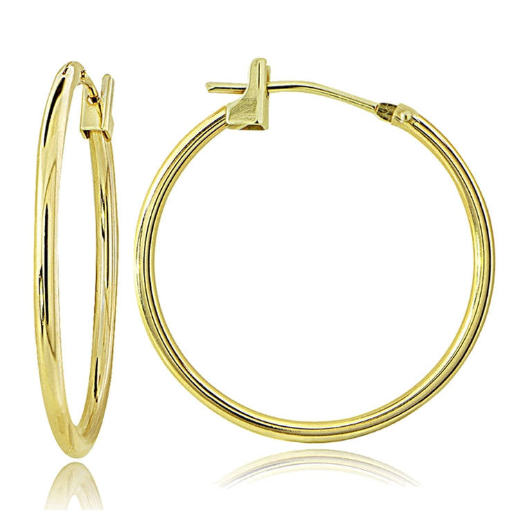 10K Gold 1.5mm Round Hoop Earrings, 25mm