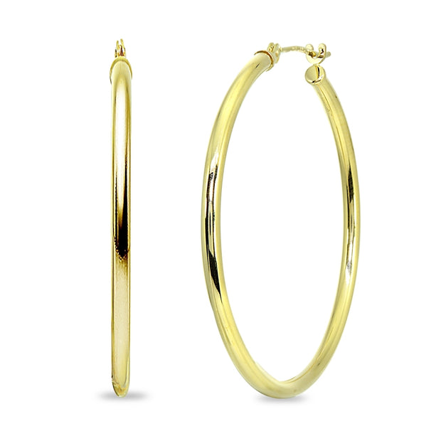 10K Yellow Gold 2mm Round Hoop Earrings, 35mm