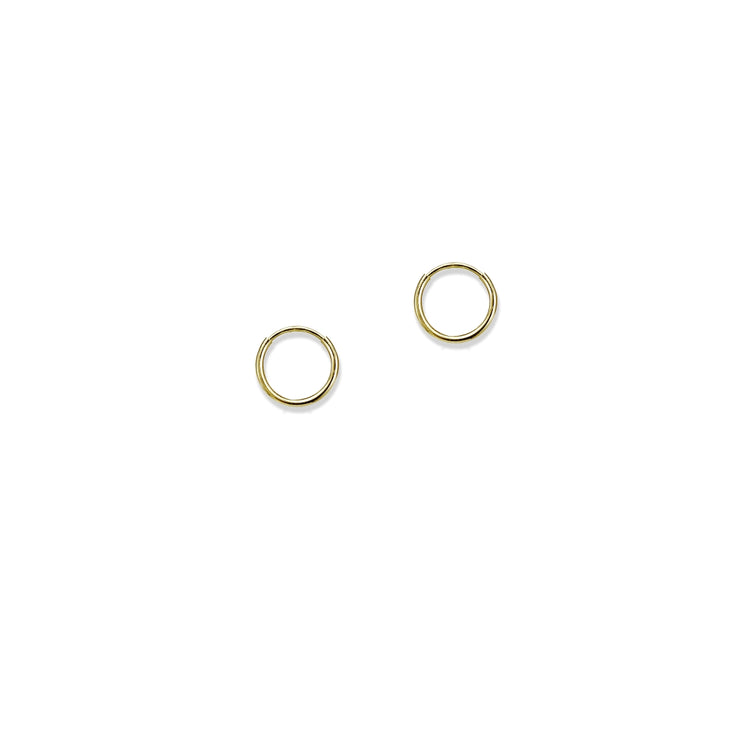 14K Gold Tiny Small Round Thin Lightweight Unisex Endless Hoop Earrings, 10mm