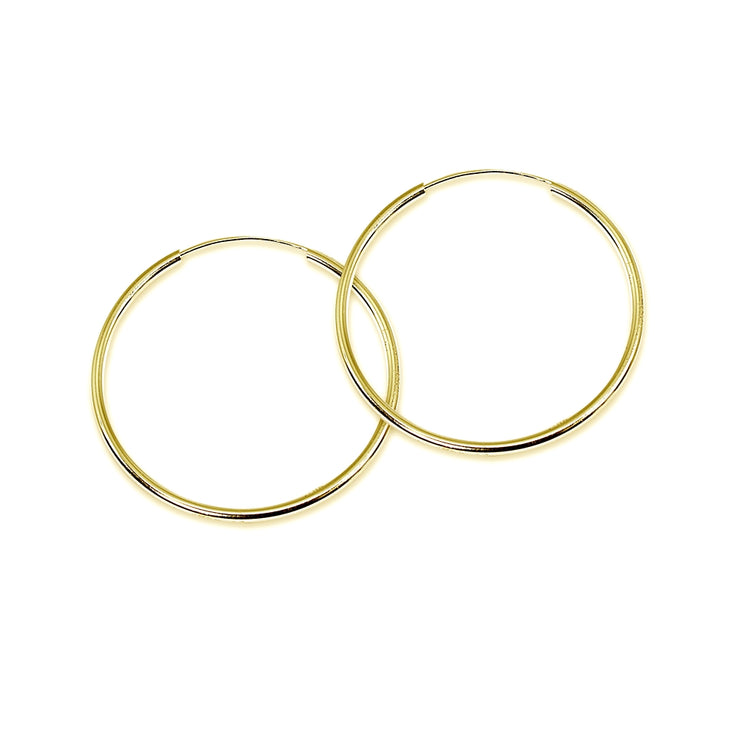14k Gold High Polished 2x40mm Continuous Endless Round Hoop Earrings