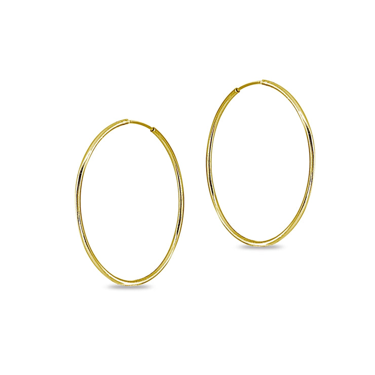 14k Gold High Polished 2x50mm Continuous Endless Round Hoop Earrings