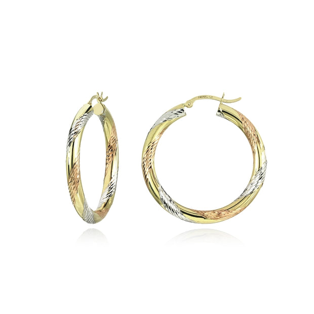 14K Gold Tri Color Polished & Diamond-Cut 4x32mm Lightweight Round Hoop Earrings