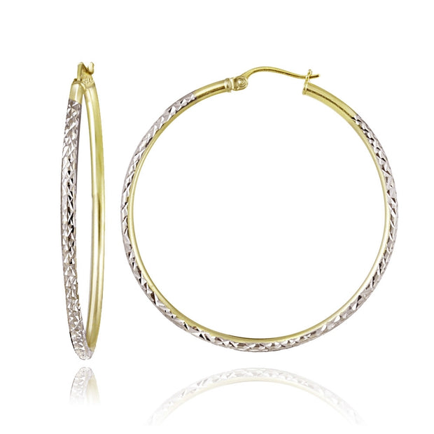 Sterling Silver Two-Tone 2mm Diamond-Cut Round Hoop Earrings, 40mm