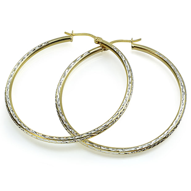 Sterling Silver Two-Tone 2mm Diamond-Cut Round Hoop Earrings, 50mm
