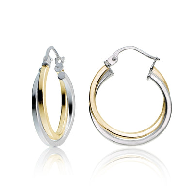 Gold Tone over Sterling Silver Two-Tone Intertwining Square-Tube Polished Hoop Earrings, 20mm