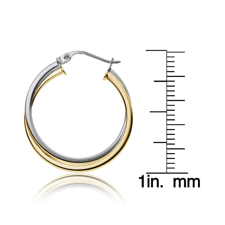 Gold Tone over Sterling Silver Two-Tone Intertwining Square-Tube Polished Hoop Earrings, 25mm