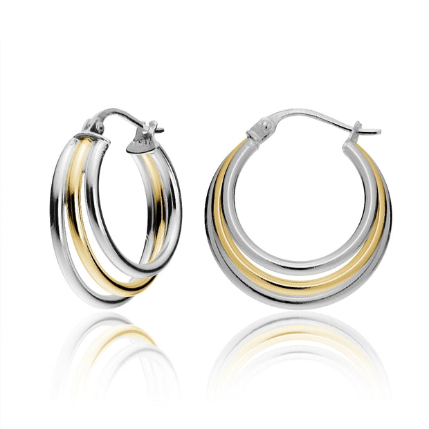 Gold Tone over Sterling Silver Two-Tone Triple Circle Round-Tube Polished Hoop Earrings, 20mm