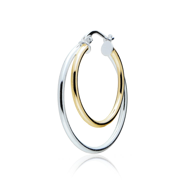 Gold Tone over Sterling Silver Two-Tone Double Circle Round-Tube Polished Hoop Earrings, 25mm